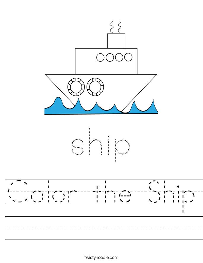Color the Ship Worksheet