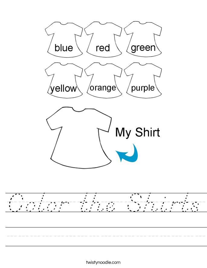 Color the Shirts Worksheet