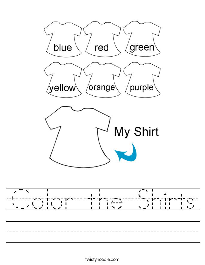 Color the Shirts Worksheet