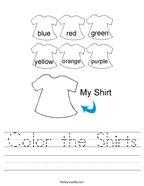 Color the Shirts Handwriting Sheet