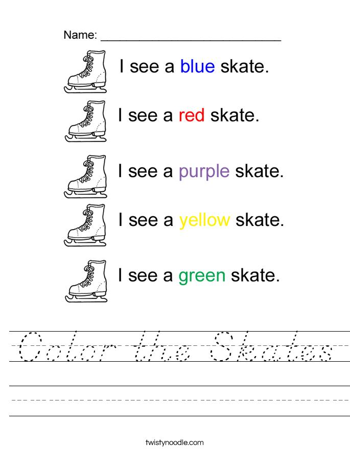 Color the Skates Worksheet