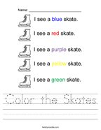 Color the Skates Handwriting Sheet