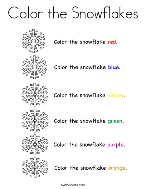 Color the Snowflakes Coloring Page - Twisty Noodle