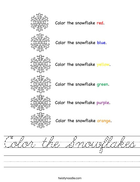 Color the Snowflakes Worksheet