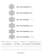 Color the Snowflakes Handwriting Sheet
