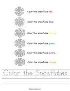 Color the Snowflakes Handwriting Sheet