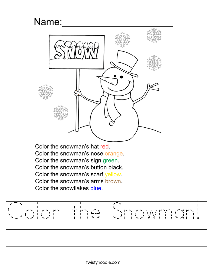 color the snowman worksheet twisty noodle. Black Bedroom Furniture Sets. Home Design Ideas
