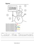Color the Snowman Handwriting Sheet