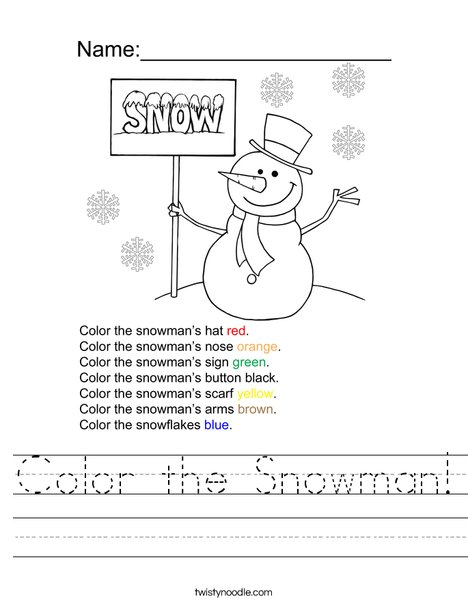 Color the Snowman Worksheet