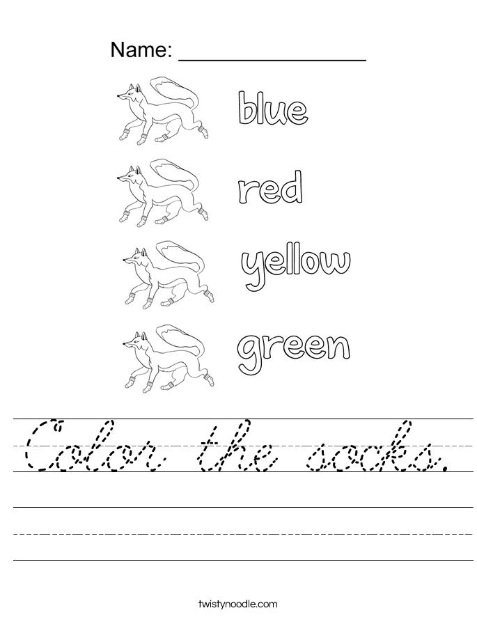 Color the socks. Worksheet