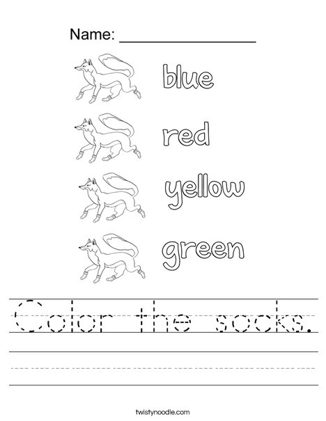 Color the socks. Worksheet