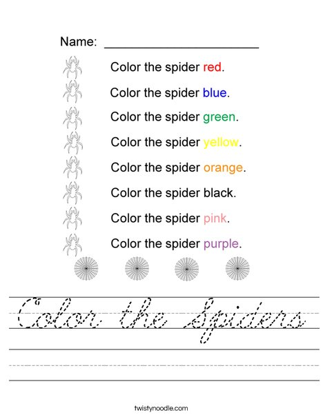 Color the Spiders Worksheet