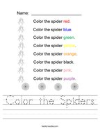 Color the Spiders Handwriting Sheet