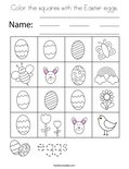 Color the squares with the Easter eggs. Coloring Page