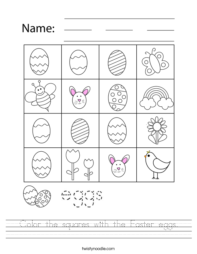 Color the squares with the Easter eggs. Worksheet