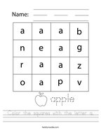 Color the squares with the letter a Handwriting Sheet