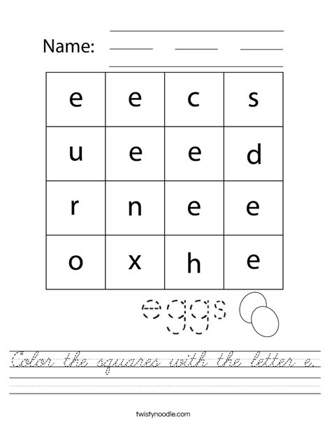 Color the squares with the letter e. Worksheet