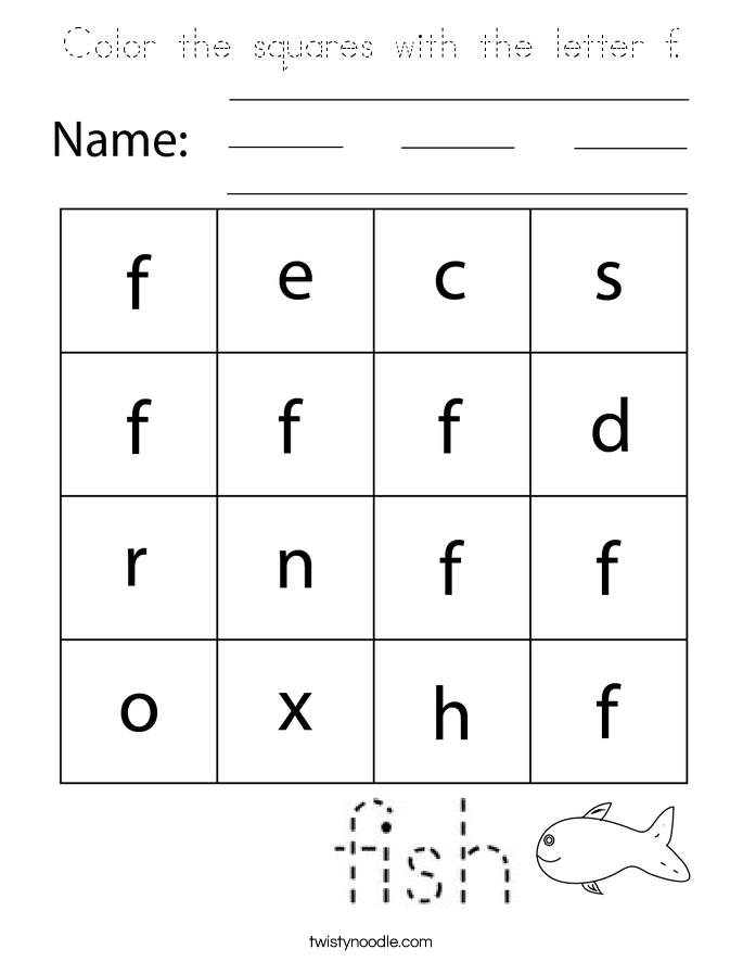 Color the squares with the letter f. Coloring Page