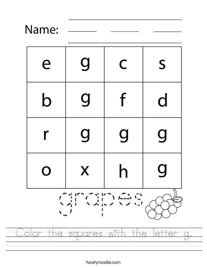 Color the squares with the letter g. Worksheet