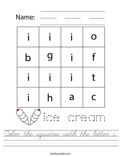 Color the squares with the letter i. Worksheet