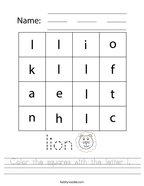 Color the squares with the letter l  Handwriting Sheet
