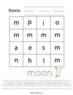 Color the squares with the letter m Handwriting Sheet