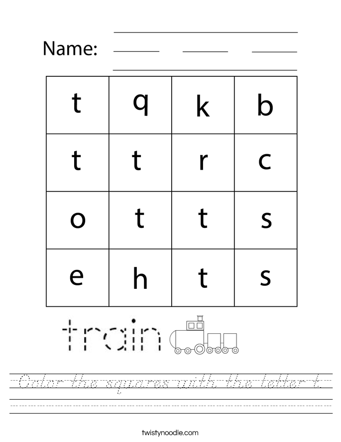 Color the squares with the letter t. Worksheet