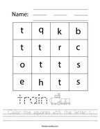 Color the squares with the letter t Handwriting Sheet