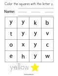 Color the squares with the letter y. Coloring Page