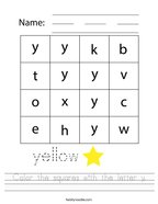 Color the squares with the letter y Handwriting Sheet