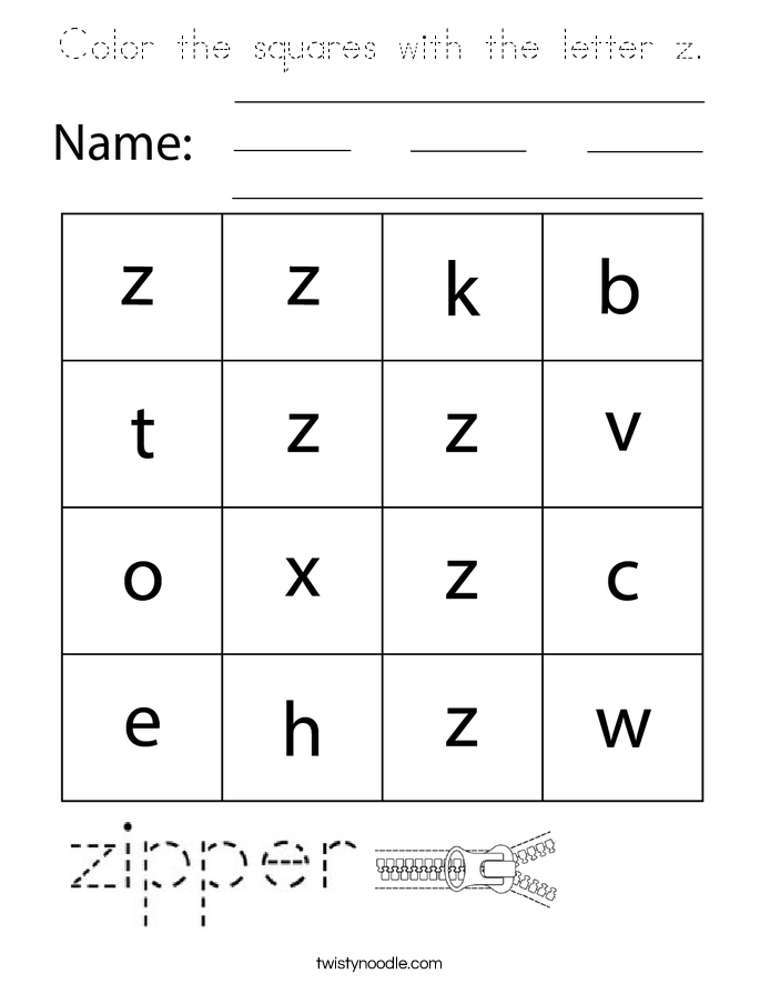 Color the squares with the letter z. Coloring Page