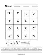 Color the squares with the letter z Handwriting Sheet