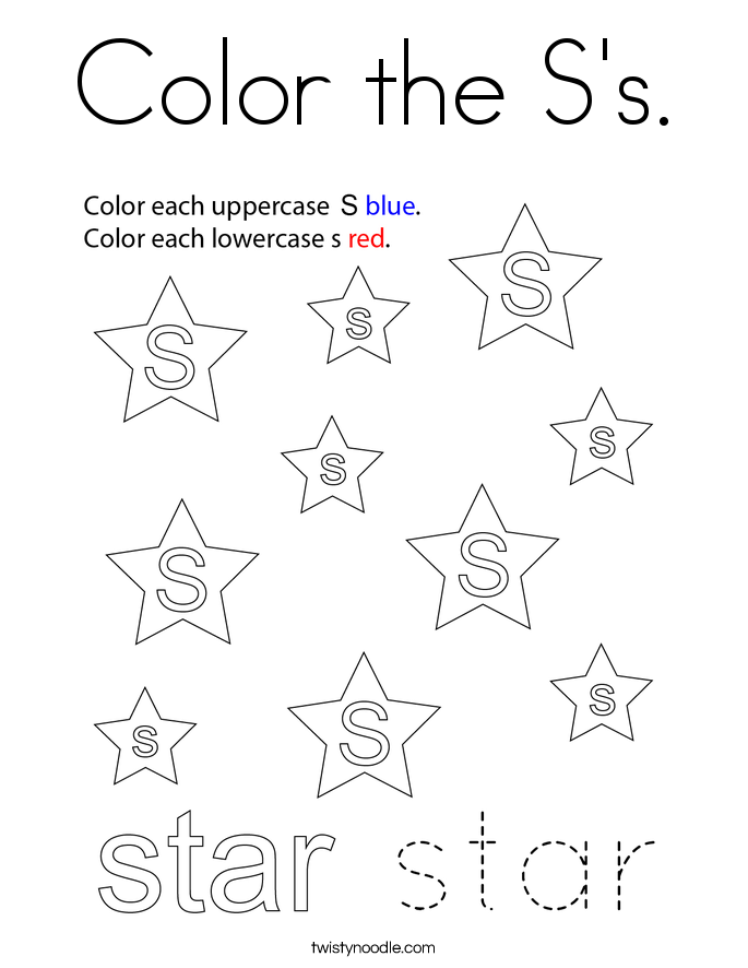 Color the S's. Coloring Page
