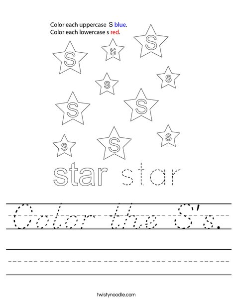 Color the S's. Worksheet