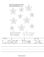 Color the S's Handwriting Sheet