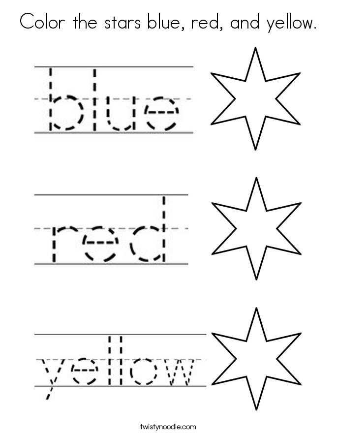 Color the stars blue, red, and yellow. Coloring Page