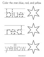 color the stars blue red and yellow coloring page - Primary Coloring Pages