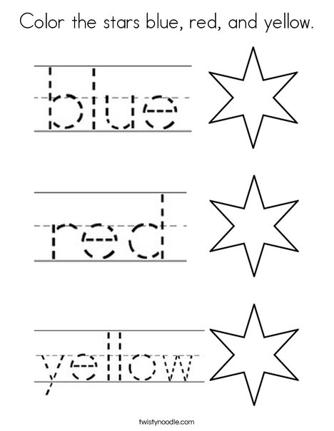Color the stars blue, red, and yellow Coloring Page - Twisty Noodle