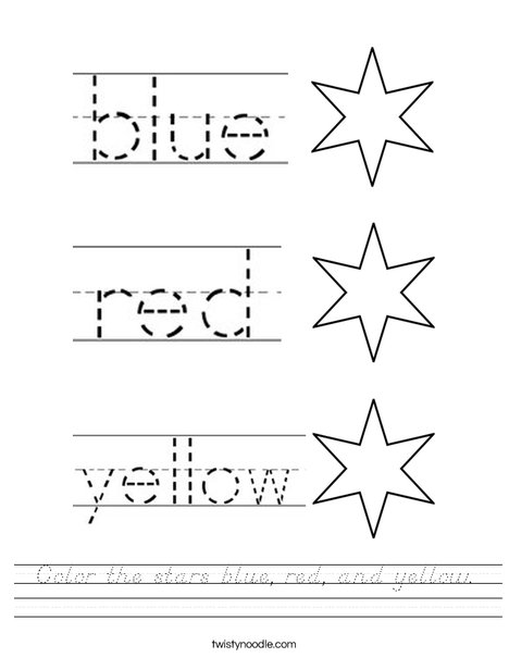 Color the stars blue, red, and yellow. Worksheet