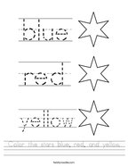 Color the stars blue, red, and yellow Handwriting Sheet