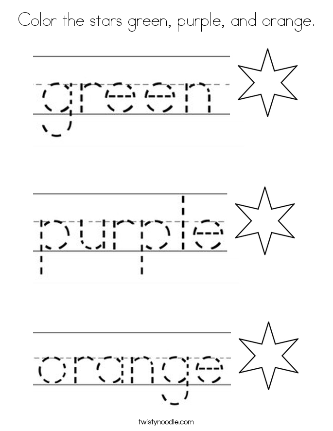 Color the stars green, purple, and orange. Coloring Page