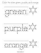 Color the stars green, purple, and orange Coloring Page