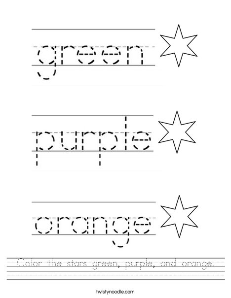 Color the stars green, purple, and orange. Worksheet