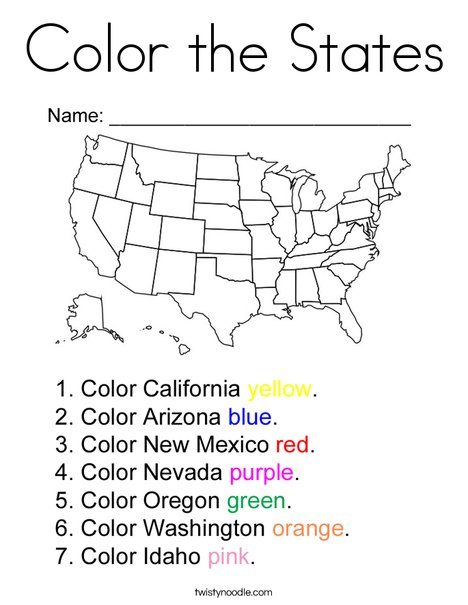 Color the States Coloring Page