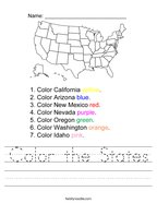 Color the States Handwriting Sheet