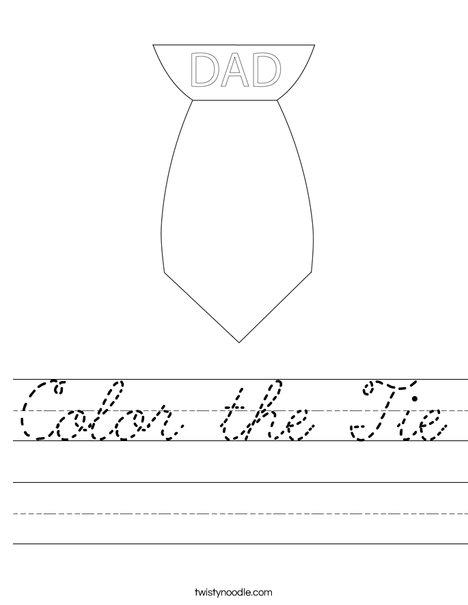 Color the Tie Worksheet