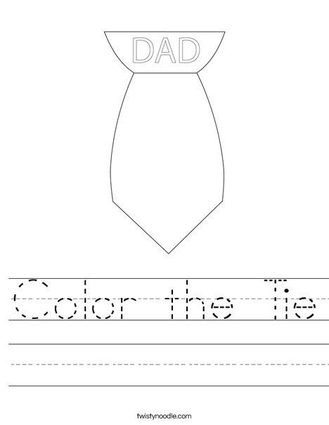 Color the Tie Worksheet