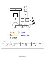 Color the train Handwriting Sheet