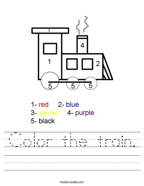 Color the train. Worksheet