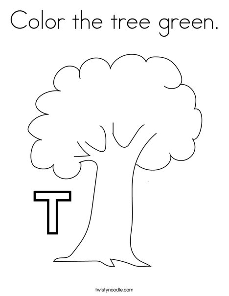Color the tree green. Coloring Page